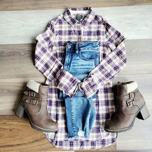 Roots extra long plaid long sleeve